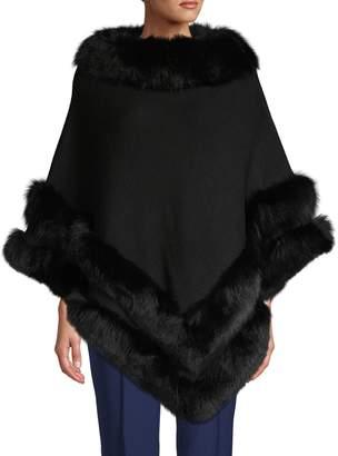 Belle Fare Fox Fur-Trim Wool-Blend Poncho