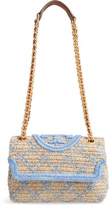 Tory Burch Small Fleming Straw Crossbody Bag