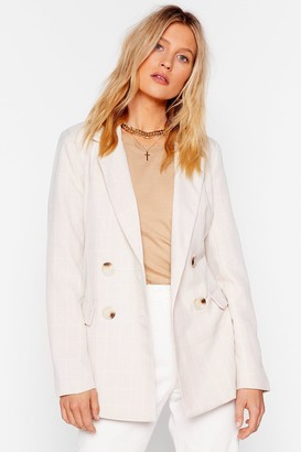Nasty Gal Womens What a Great Square Check Blazer - Beige