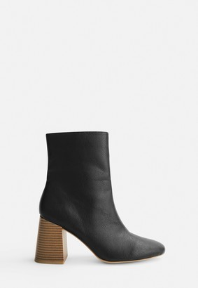 Missguided Black Wooden Stacked Heel Ankle Boots