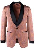 Tom Ford Orange Jacquard Shawl Lapel Shelton Cocktail Jacket.