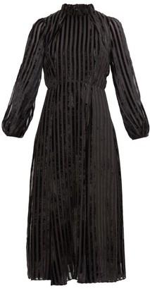 Beulah Sonia Striped Devore-velvet Dress - Black