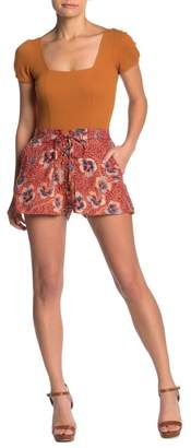 Angie Lace-Up Floral Print Shorts