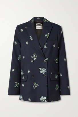 Paul & Joe Costa Rica Double-breasted Cotton-blend Floral-jacquard Blazer - Midnight blue