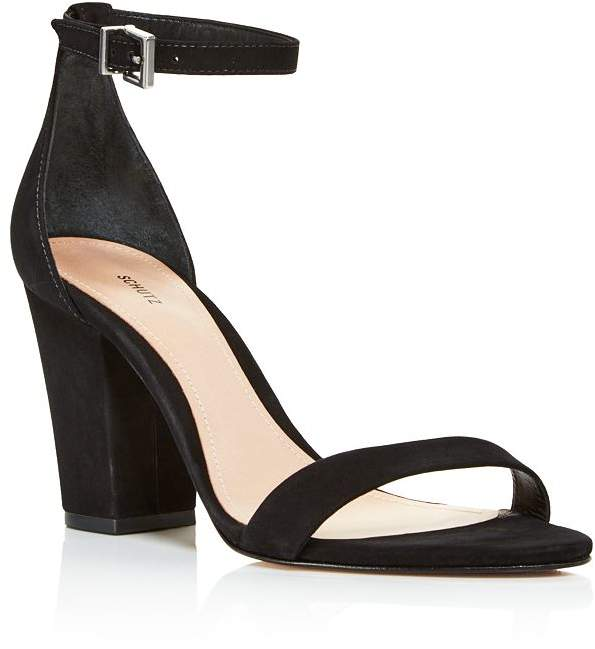 Schutz Women's Jenny Lee Suede Ankle Strap Block Heel Sandals