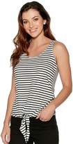 M&Co Sleeveless tie front stripe top