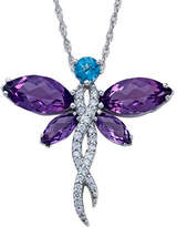 Fine Jewelry Lab-Created Amethyst Dragonfly Sterling Silver Pendant Necklace Family