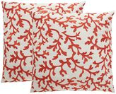 Safavieh Coral Embroidered Indoor Outdoor Throw Pillow 2-piece Set