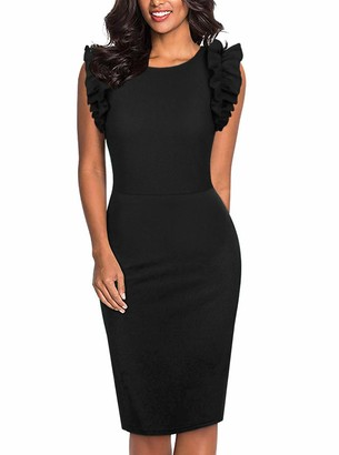 Moyabo Women's Elegant A Line Round Neck Ruffle Petite Sleeveless Loose Cocktail Party Dress Black Small