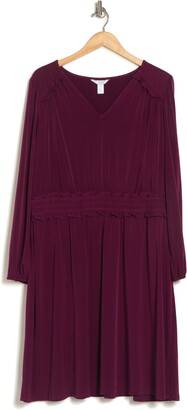 London Times V-Neck Empire Smocked Waist Long Sleeve Dress