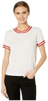 Cupcakes And Cashmere Quily Striped Knit Tee w/ Striped Tape Trim (White) Women's Clothing
