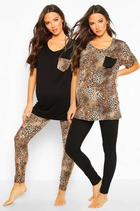 boohoo Maternity Leopard Print 2 Pack PJ Set