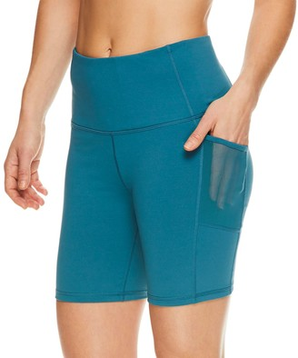 Gaiam Women's Om High-Waisted Mesh Pocket Fitted Shorts