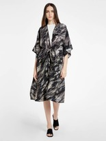 Halston Printed Silk Kimono Cover Up Jacket