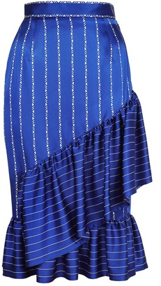 Jiri Kalfar Navy Blue & White Stripe Ruffle Skirt