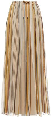 Brunello Cucinelli Striped Silk-voile Maxi Skirt