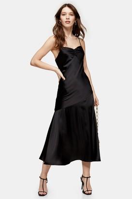 Topshop Womens Black Ruched Bias Satin Slip Dress - Black