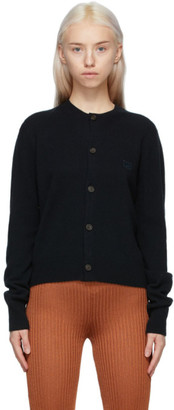 Acne Studios Black Wool Crewneck Patch Cardigan