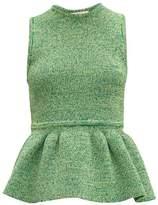 Tibi Ribbed-knit Peplum Top - Womens - Green