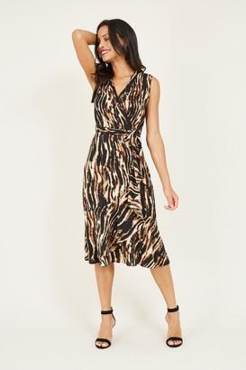 Mela Brown Animal Wrap Midi Dress