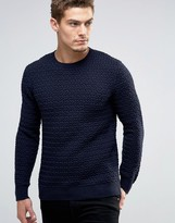 Esprit Crew Neck Knit with Loose Weave Detail