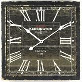 Yosemite Home Decor 16 in. Square MDF Wall Clock in Distressed Black Wooden Frame