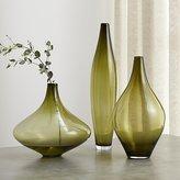 Crate & Barrel Davina Olive Green Glass Vases