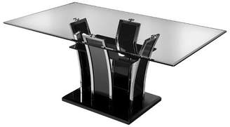 Mid-Century MODERN HOMES: Inside + Out Lexinton Glass Top Open Shelf Base Dining Table Black - ioHOMES