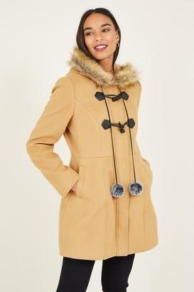 Yumi Camel Duffle Coat With Pom-Poms
