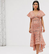 Asos Tall DESIGN Tall flutter sleeve midi dress in corded lace with circle trim detail