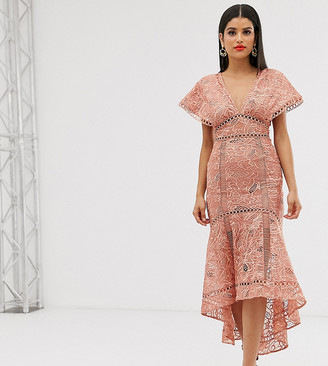 Asos Tall DESIGN Tall flutter sleeve midi dress in corded lace with circle trim detail-Pink