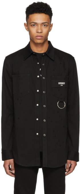 Givenchy Black Distressed Denim Shirt