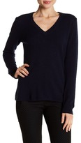 Minnie Rose Long Sleeve V-Neck Cashmere Sweater