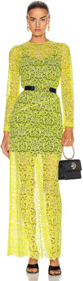 Marques Almeida Marques ' Almeida Long Lace Dress in Yellow | FWRD