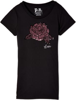 Aeropostale p.s. from Girls' Tee Shirts BLACK - Black & Pink 'Love' Rose Reversible Sequin Tee - Girls