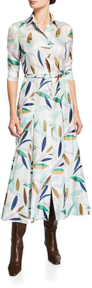 Gabriela Hearst Jeanne Leaf-Print Belted Silk Midi Dress