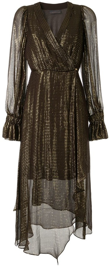 Ginger & Smart Bourgeois metallized wrap dress