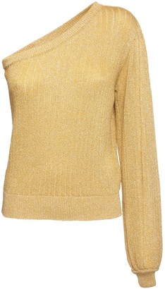 MSGM One Shoulder Knit Lurex Sweater