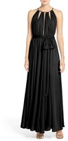 LuLu*s Women's Gold Metallic Halter Neck Chiffon Gown