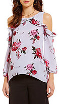 Living Doll Floral Printed Ruffle Cold Shoulder Top