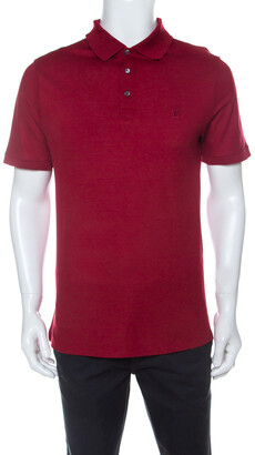 Louis Vuitton Red Cotton Honeycomb Knit Short Sleeve Polo T-Shirt S