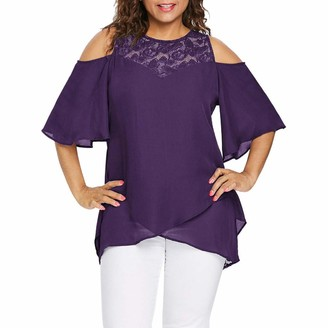 Kalorywee Womens Tops Plus Size Women O-Neck Cold Shoulder Solid Lace Short Sleeve Zipper Tops Blouse Purple