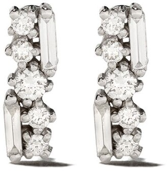 Suzanne Kalan 18kt White Gold Baguette And Round Diamond Stud Earrings