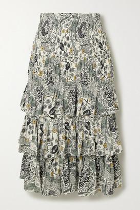 Etoile Isabel Marant Cencia Shirred Tiered Floral-print Crepe Midi Skirt - Ecru