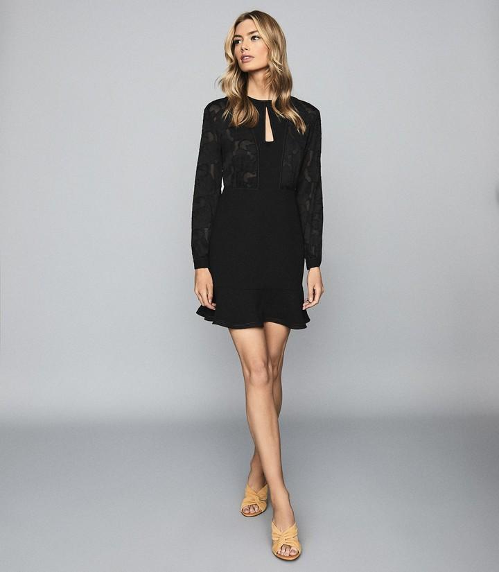 Reiss Pippa - Burnout Detail Mini Dress in Black