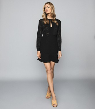 Reiss Pippa - Burnout Detail Mini Dress in Black