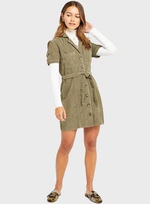 Miss Selfridge PETITE Khaki Cord Utility Dress