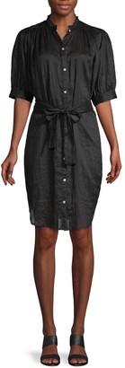 Frame Ruffled Mockneck Shirtdress