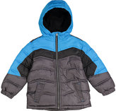 Pacific Trail Turquoise & Gray Color Block Puffer Jacket - Boys