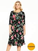 V By Very Curve Three Quarter Sleeve Jersey Tea Dress